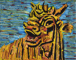 layer-Homage to 이중섭의 소 *91cm x 73cm paper on canvas *유리없는액자(양호)* - 이승오