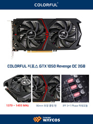 """웨이코스, 컬러풀 지포스 GTX 1050 을 담은 """"컬러풀 지포스 GTX 1050 REVENGE OC 2GB"""" 출시"""