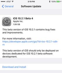 iOS 10.2.1 베타4 IPSW 다운로드 링크 및 iOS 10.2.1 퍼블릭 베타4 업데이트 방법