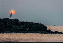 해와 달이 있는 풍경 - 슈퍼문