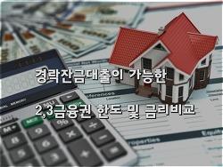 경락잔금대출이 가능한 2,3금융권 저축은행 및 기타 금융사들의 대출한도 및 금리비교