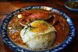 황게 한마리가 통째로 들어가있는 비주얼깡패 제주도 맛집 문쏘 - 황게카레,고등어밥,에그인헬