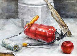 [정물수채화 / 학생작] 소화기, 석유통, 페인트 롤러, 북어(명태), 사과, 흰 천