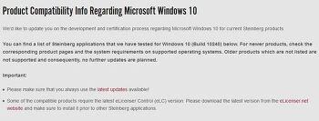 윈도우10에서 큐베이스 및 스테인버그 제품의 호환 공식발표
