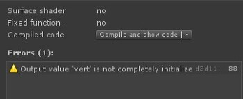 Unity output value 'vert' is not completely initialized