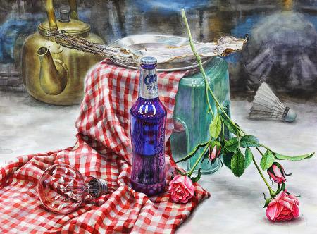 [정물수채화/과정작]카스 맥주병, 체크무늬 천, 전구, 장미, 플라스틱 의자, 마른오징어, 금속쟁반, 셔틀콕, 주전자