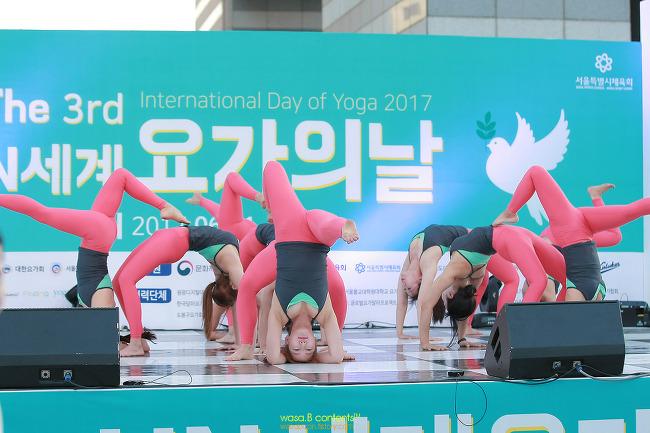 미녀 요가 강사쌤들의 집합체 나디아워킹클래스 요가시연단 Open Your Eyes 2017 UN 세계 요가의 날 올림픽공원 평화의광장