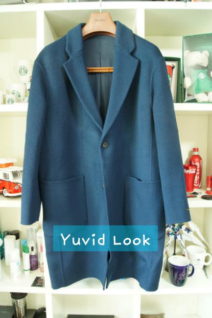 [YuvidLook 구매보고서] 트루젠 오버핏 코트 블루색상 (트루젠 세미 오버핏 코트)