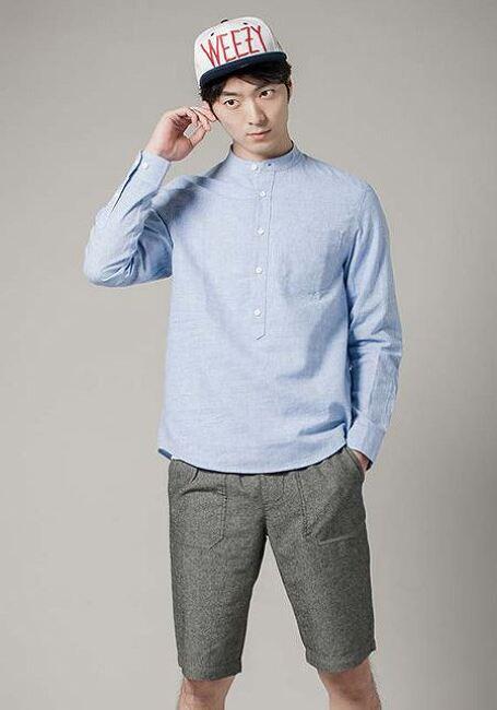 에이치커넥트 남성 포켓 하프 플래킷 셔츠