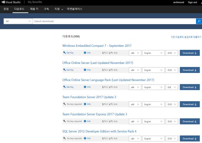 MSDN(My Visual Studio) 다운로드 재개!