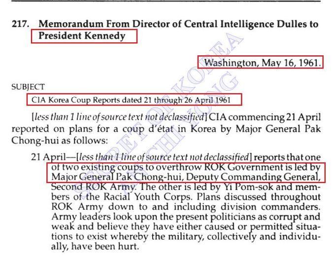 CIA, 516 한달전 '박정희 쿠데타 모의'알았다 - 1961년 4월말 '박정희 쿠데타모의'8차례 보고