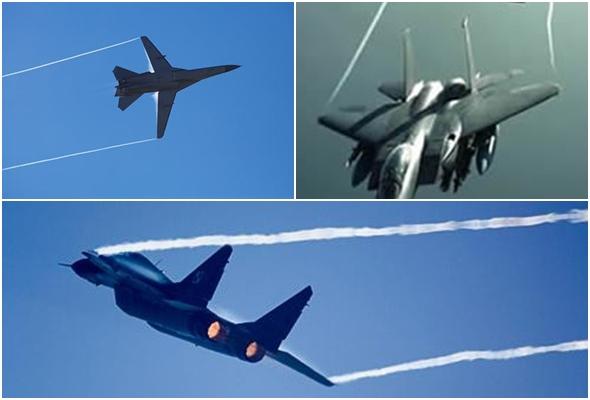 전투기에서 발생하는 비행운