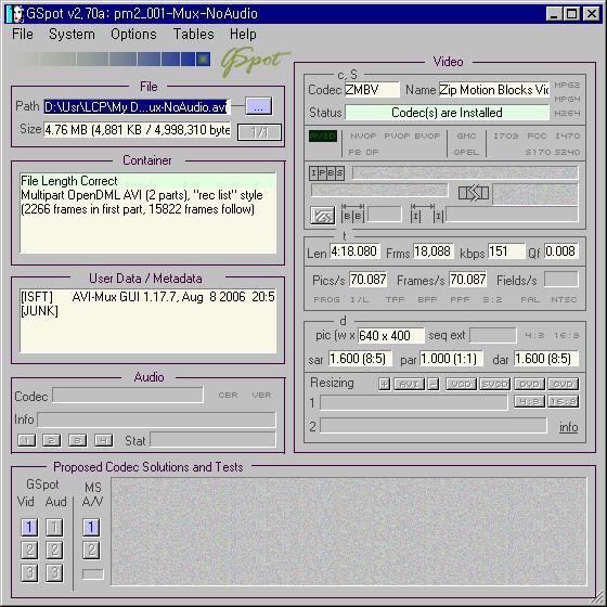 AVI-Mux GUI로 작업한 파일의 정보
