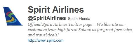트위터를 적극 마케팅에 활용하고 있는 스피리트항공(Spirit Airlines)