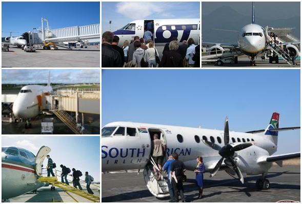 항공기 탑승은 거의 대부분 왼쪽에서 이루어진다.