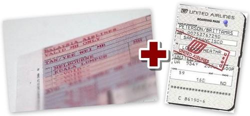 사후 적립을 위해 필요한 항공권과 탑승권