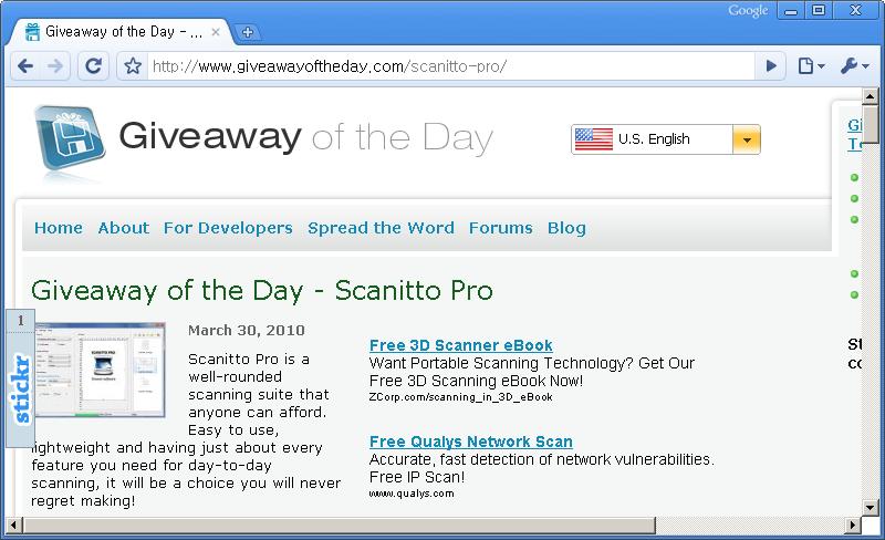 Giveaway of the Day 홈페이지 - 오늘은 Scanitto Pro 프로그램이 공짜!