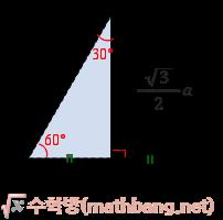 특수한 직각삼각형 세 변의 길이의 비 - 30°, 60°, 90°