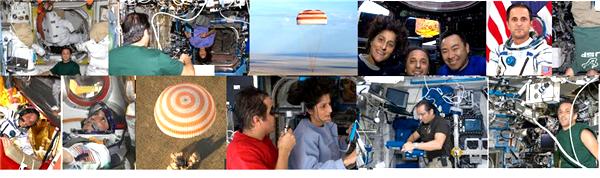 미국,러시아 우주 승무원의 안전하게 평원에 착륙했다.