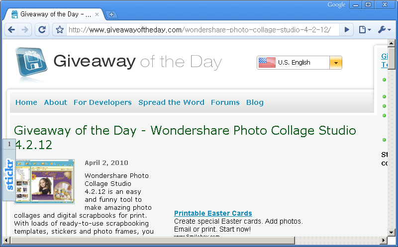 Giveaway of the Day 홈페이지 - 오늘은 Wondershare Photo Collage Studio 4.2.12 프로그램이 공짜!