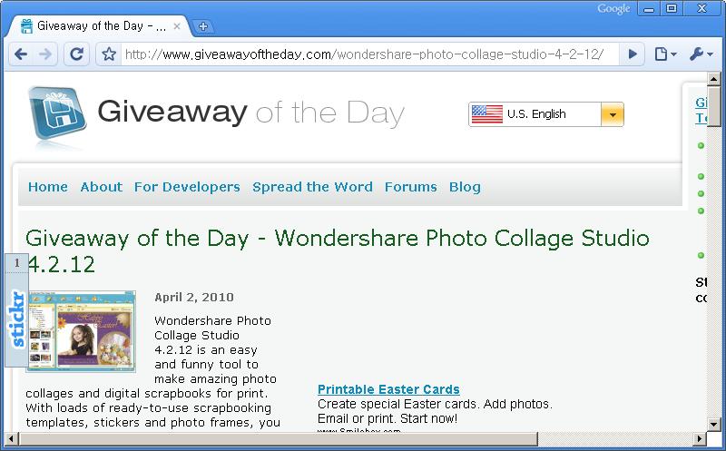 Giveaway of the Day 홈페이지 - 오늘은 Wondershare Photo Collage Studio 4.2.12 프로그램이 공짜!