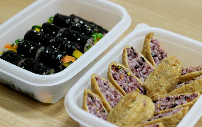꼬마김밥 유부초밥 도시락만들기