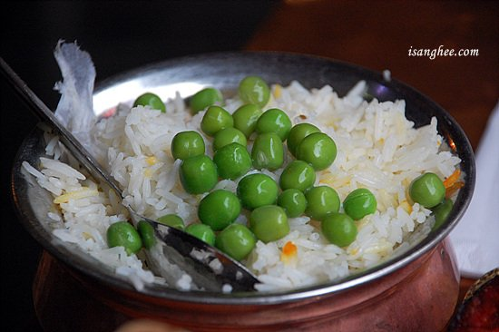 Peas Pulao Saffron rice with peas. $2.95