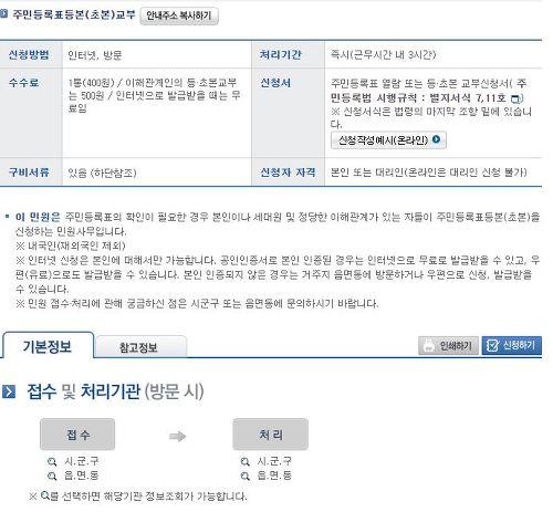 민원24의 주민등록등본 초본 교부 안내