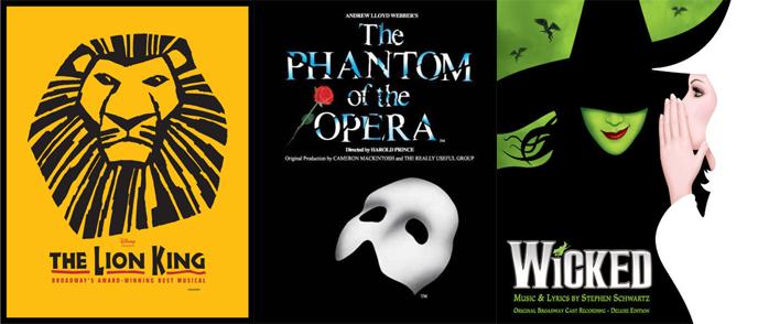 브로드웨이 뮤지컬 라이온킹, 오페라의 유령, 위키드
