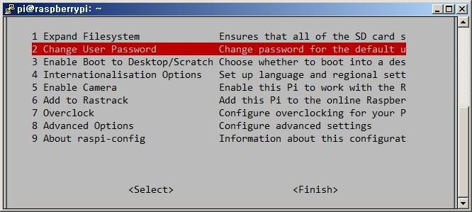 라즈베리파이 환경설정 화면 Change User Password