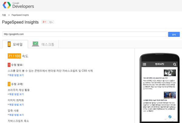 PageSpeed Insight 모바일 블로그 속도 및 점검
