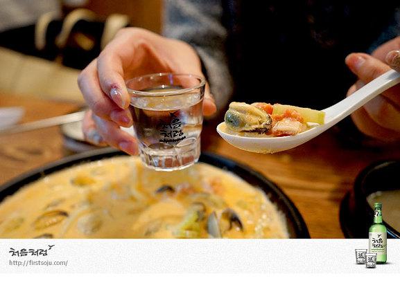 베이컨 크림 홍합