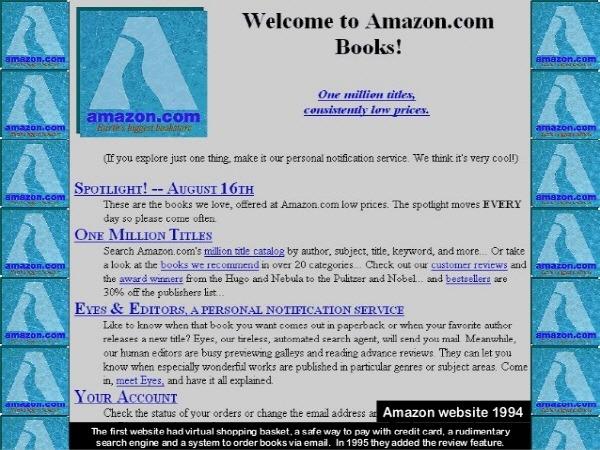 amazon history 1994 아마존닷컴