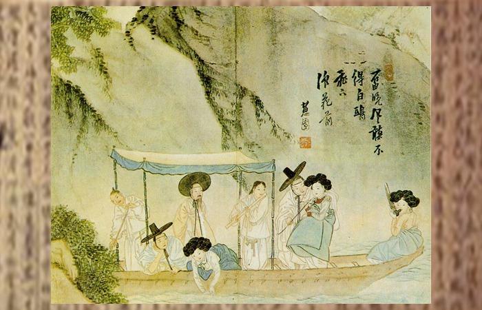 사진: 신윤복이 그린 양반과 기생의 풍류. 하지만 율곡 이이는 학자로서 기생을 멀리하고 여색을 탐하지 않는 것으로 유명하다. [율곡 이이와 유지의 사랑이야기]