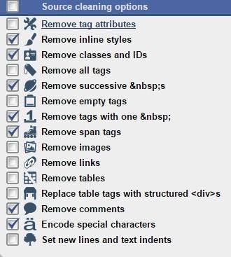 HTML cleaner 옵션 창
