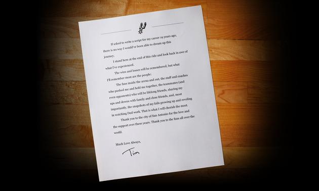 은퇴하는 팀 던컨이 팬들에게 쓴 편지