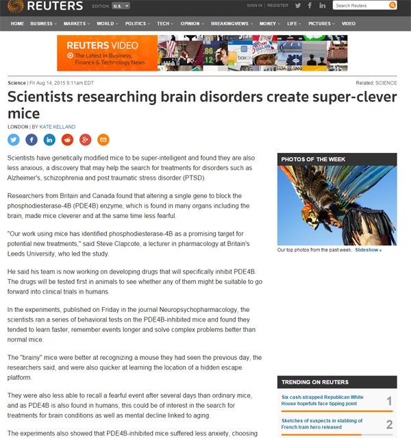 치매-외상후 스트레스장애-PTSD-alzheimer-intelligent mice-brain disorder-알츠하이머-뇌-똑똑한 쥐-신경정신약리학