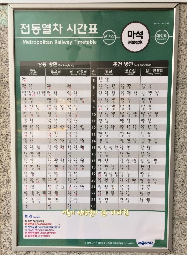 마석역 전철 시간표