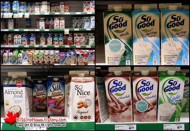 캐나다 우유 두유 유형