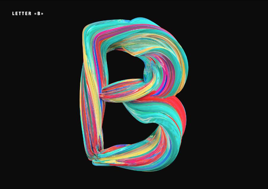 아크릴느낌의 무료 영문 컬러 폰트 Acrylic Free Colorful Typography
