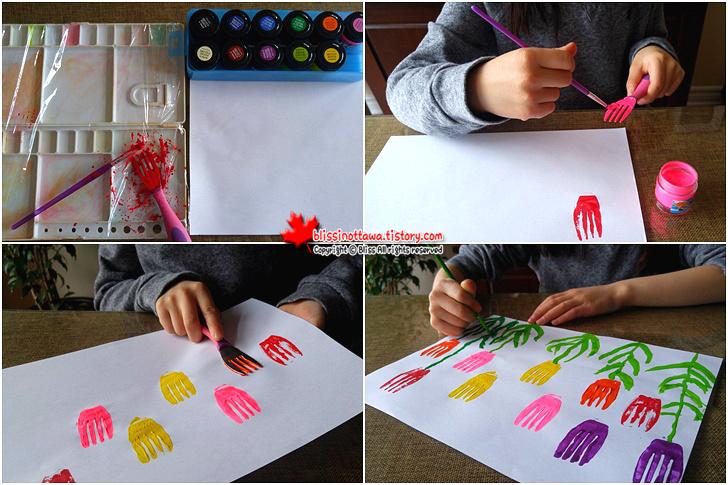 엄마표 유아 미술놀이 포크 스탬프로 튤립을 그리다