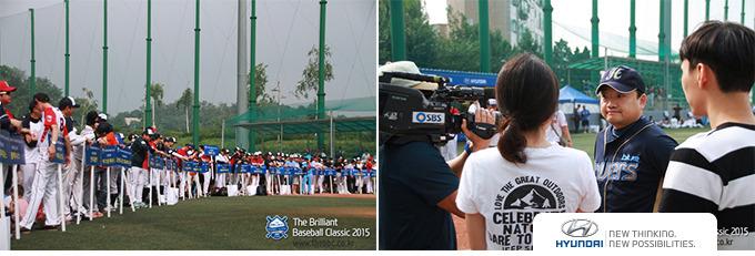 개막식에 참석한 선수들과 SBS 모닝와이드 촬영팀과 인터뷰하는 참가선수의 모습