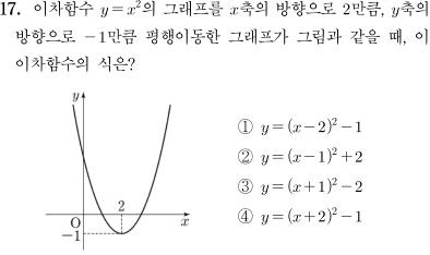 2014년도 제 2회 고등학교 입학자격 검정고시 수학 문제 17번
