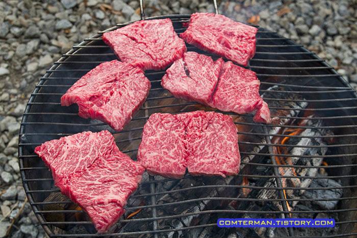 캠핑 고기 굽기