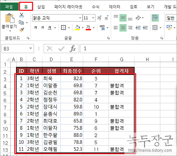 엑셀 Excel 조건부 서식을 이용해서 텍스트 구분하는 방법