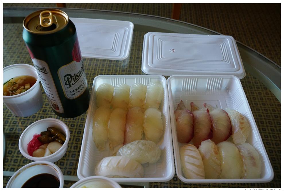 2017년 1월 제주도 겨울여행-'초밥군 커피씨' 광어초밥, 광어부시리초밥 포장