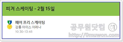 피겨스케이팅 - 2월 15일 10:30-13:45