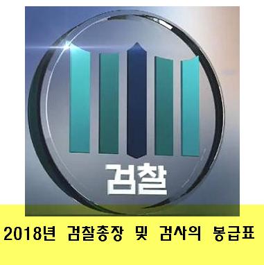 2018년 검찰총장 및 검사의 봉급표