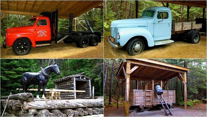벌목에 사용된 화물 트럭과 뗏목입니다