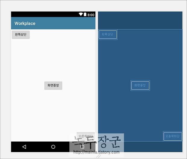 안드로이드 개발 RelativeLayout 화면을 Java 소스에서 구현하는 방법